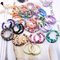 bohemian polymer clay circled earrings multicolor hoop earrings for women female girls jewelry polymer clay spacer beads earring