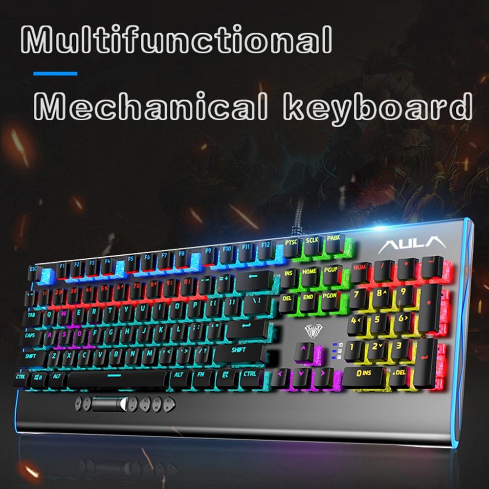 AULA-لوحة مفاتيح كمبيوتر محمول للألعاب F2099 ، 104 مفتاح ، للوسائط المتعددة ، زر دوار ، ميكانيكي ، تعريف الماكرو ، جديد