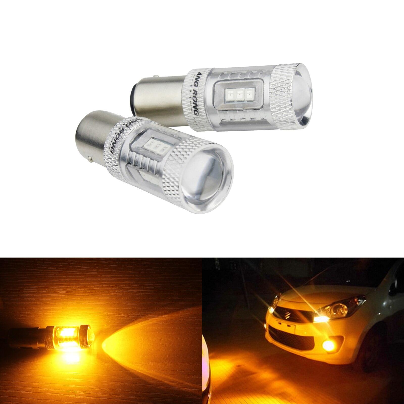 ANGRONG 2x380x1157 BAY15D P21/5 W bombilla led de coche 15 SMD 2835 marcha atrás LED de freno luz de freno lámparas ámbar 12V 12V