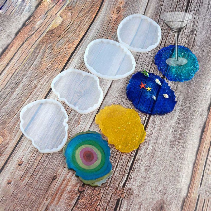 Molde de posavasos redondo de onda Irregular grande, posavasos Molde de resina de silicona resina epoxi, fundición de cemento, fabricación de joyería, herramientas de arte
