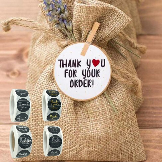 1 Inch - 500Pcs Roll Thank You Flower Stickers 2