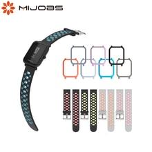 Mijobs Bracelet pour amazfit GTR Bip sangle 20mm Bracelet avec housse de boîtier pour Xiaomi Huami Amazfit Bip BIT rythme Lite sangle