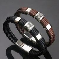 gentleman leather titanium steel braided clasp bangle bracelet for men and women retro bangles bracelets jewelry