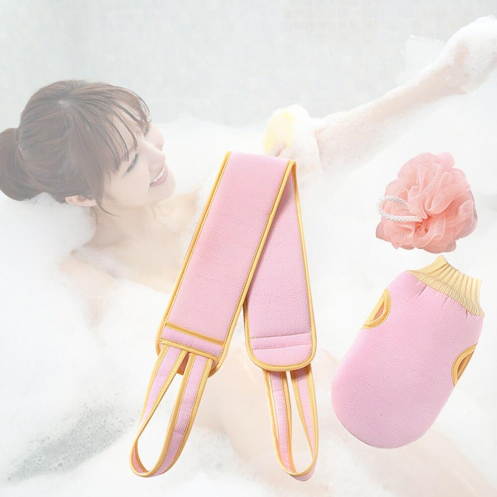 3 pièces exfoliant dos épurateur corps lavage gommage éponges exfoliant gant de toilette outil pour bains ceinture douche brosses épurateur éponge