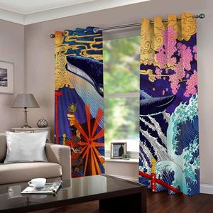 3D Oil Printing Window Curtain Living Room colorful windmill Girls Room Curtains Decoration Thick Blackout Curtains