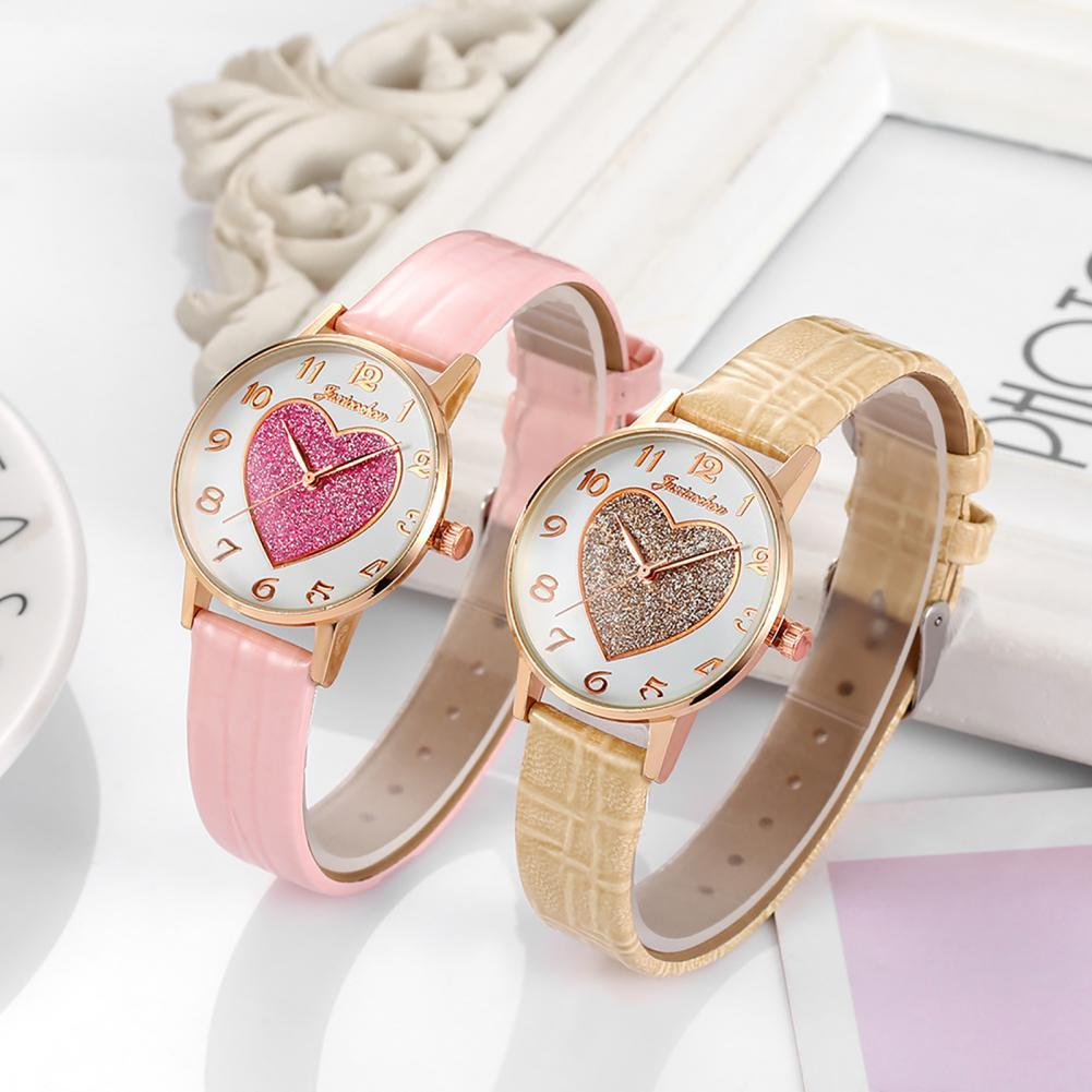Women Heart-shaped Quartz Watch Casual Faux Leather Band Round Dial Wristwatch Magnetic Watches for