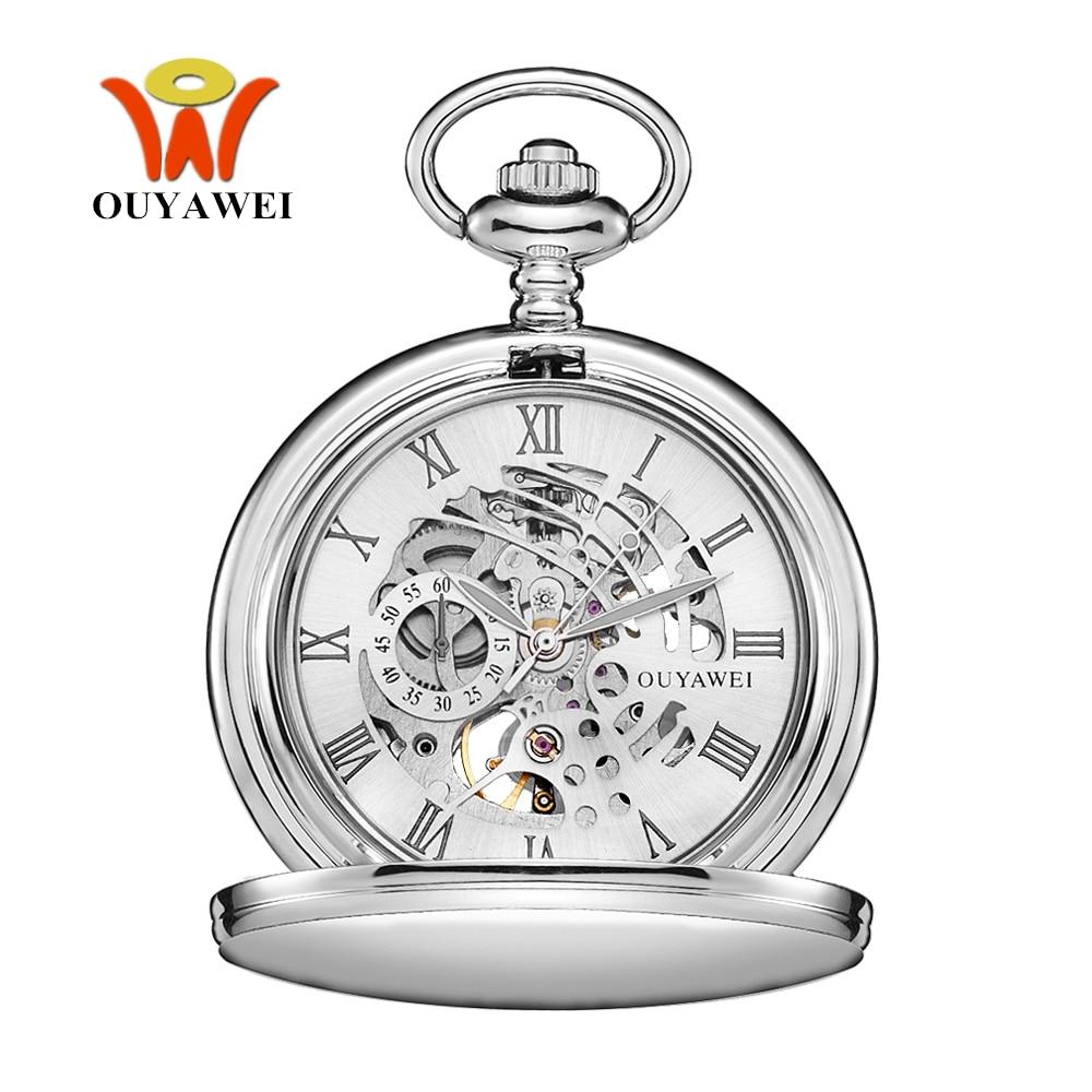OYW Acero inoxidable hombres moda Casual reloj de bolsillo esqueleto dial plata mano viento mecánico Fob cadena reloj masculino regalos de boda