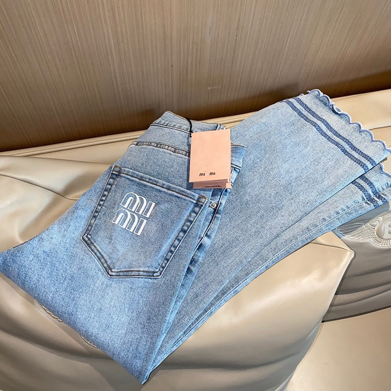 Miu21 Summer New Girly Embroidered Lace Jeans Are Thin, Soft, Slightly Elastic, Flared Pants Women