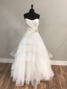 A Line Wedding Dress 2021 with Train White Wedding Gowns Strapless Sleeveless Crystal Zipper Back with Button Vestido De Noiva