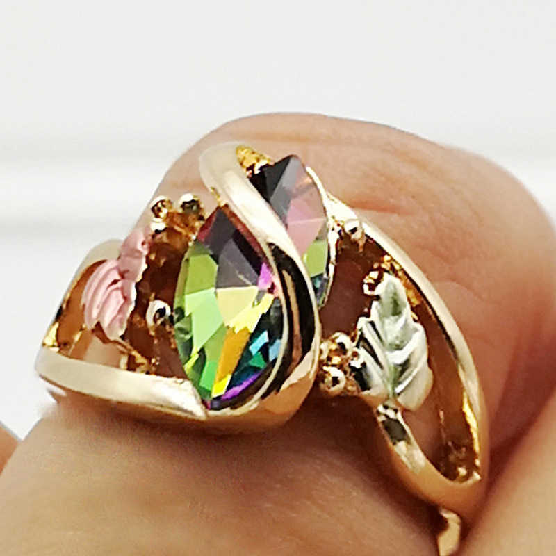 Joyería Popular de Hills Fire, anillos de hojas místicos encantadores para mujeres, anillo de compromiso de boda