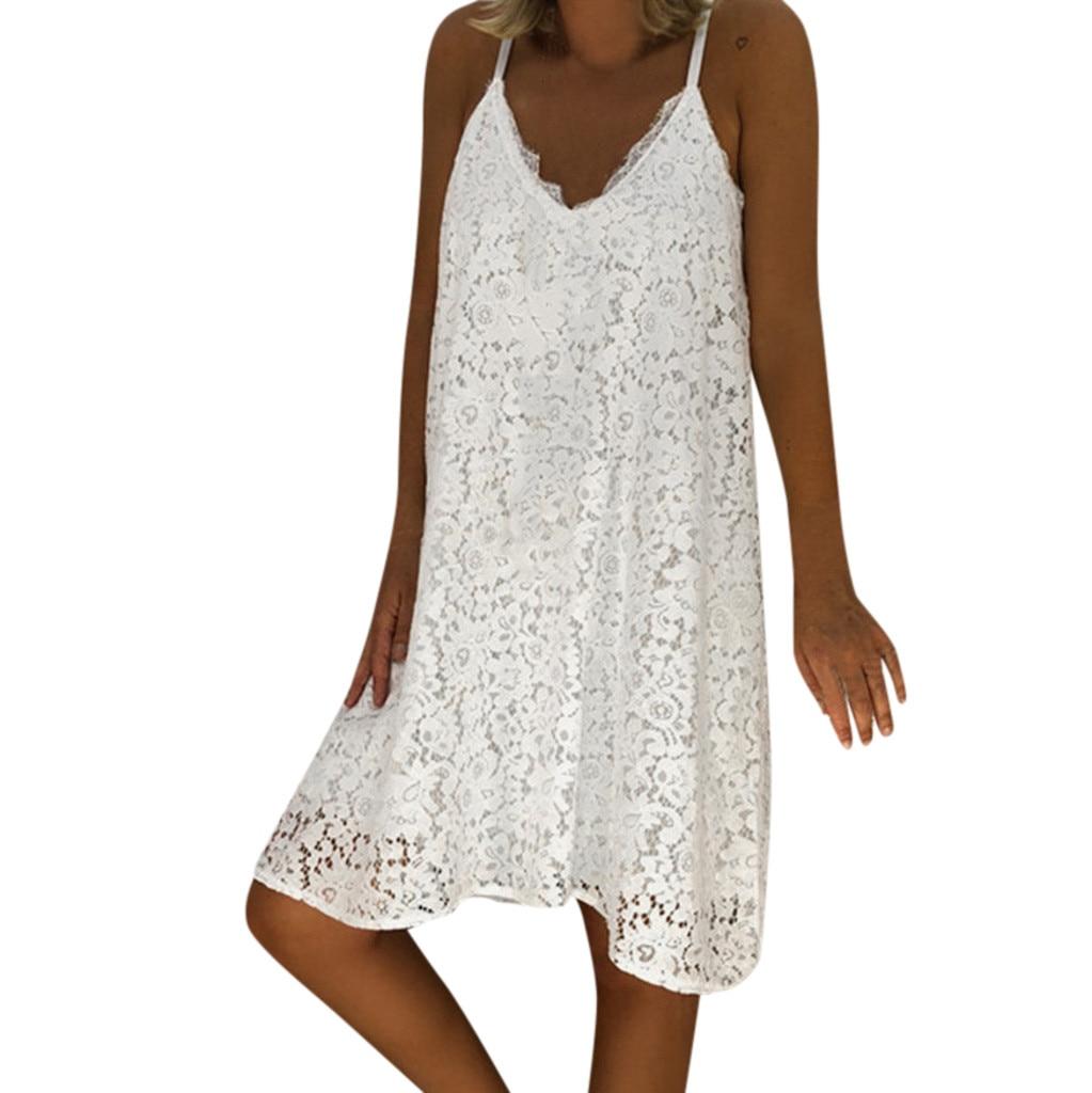 Sexy Spaghetti Strap White Lace Loose Dress Women 2019 Summer Boho V-neck Plus Size 4xl 5xl Party Casual Dresses Robe Femme