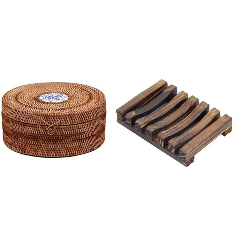 1 قطعة اليدوية الروطان بوير الشاي كعكة صندوق تخزين و 1 قطعة الخيزران الخشب صحن الصابون تخزين حامل
