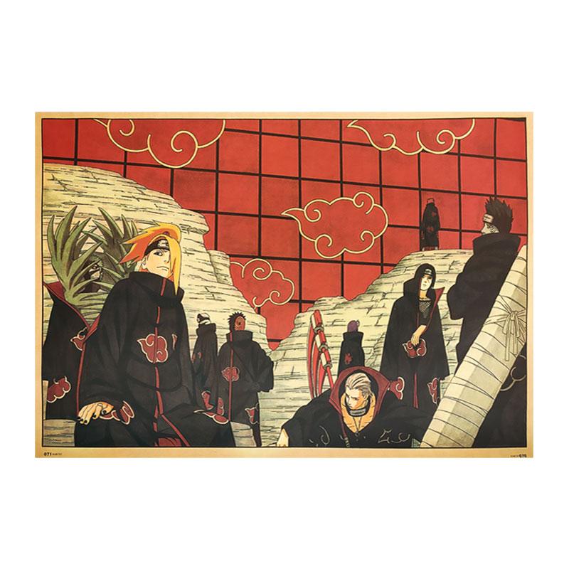Desenhos animados mangá naruto akatsuki organização anime personagem criativo coleção retro kraft papel poster decoração da sua casa adesivos de parede