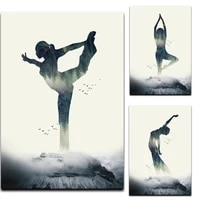 wall art canvas painting modern beauty simple woman yoga forest posters and prints room decor pictures for home decoration