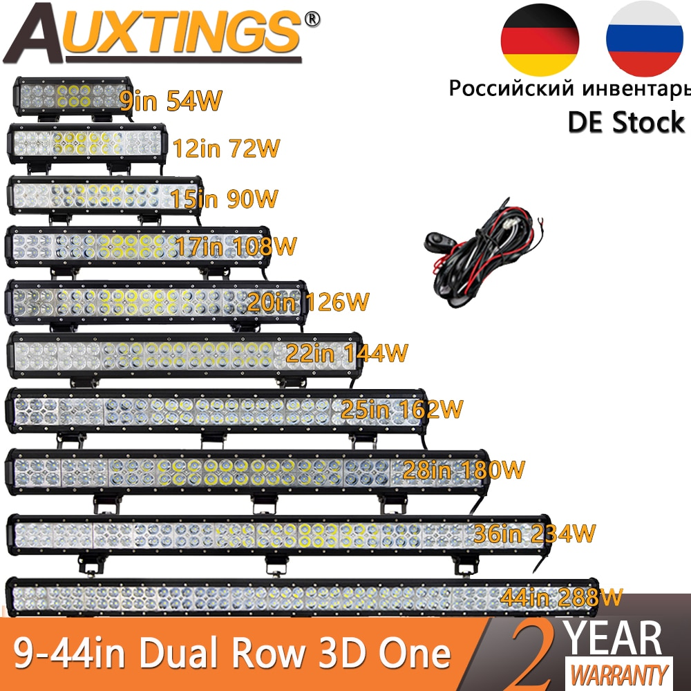 Auxtings 12'' 22'' 20inch 12V 24V offroad led light bar Spot Flood Combo 20'' 126W led Work Light for Jeep Car 4WD Truck SUV ATV