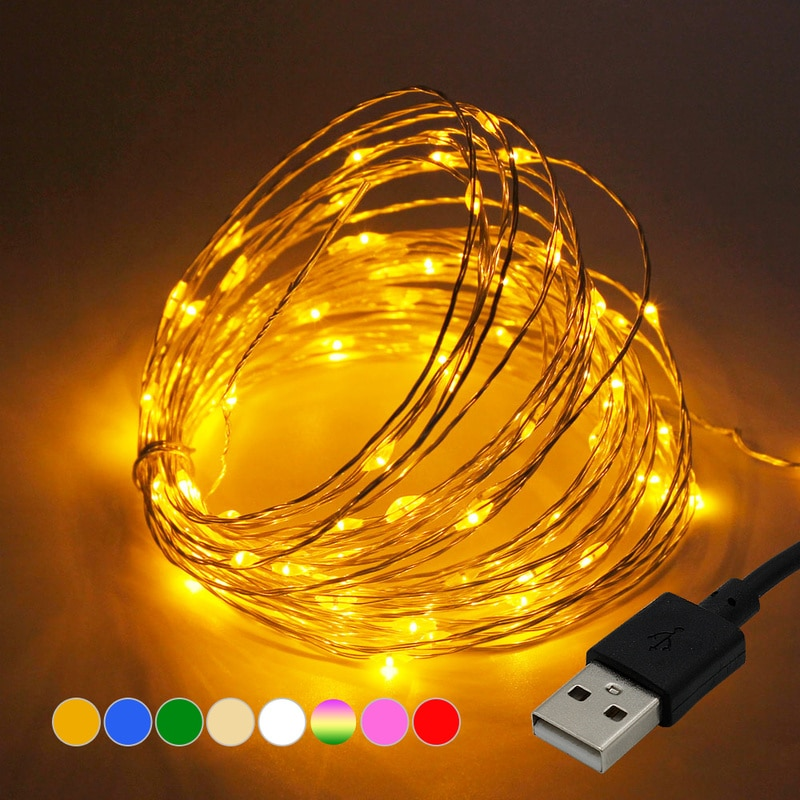 led string light silver wire fairy lights usb garland home christmas wedding party decorations light powered by usb 5m 10m 20m DC 5V USB LED String Lights 1M 5M 10M Silver Wire Waterproof Fairy Light Garland For Home Christmas Wedding Party Decorations