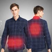 ZYNNEVA New Outdoors USB Heated Shirts Men Long Sleeve Smart Rapid Heating Plaid Shirt Autumn Winter Warm Striped Shirt GC2118