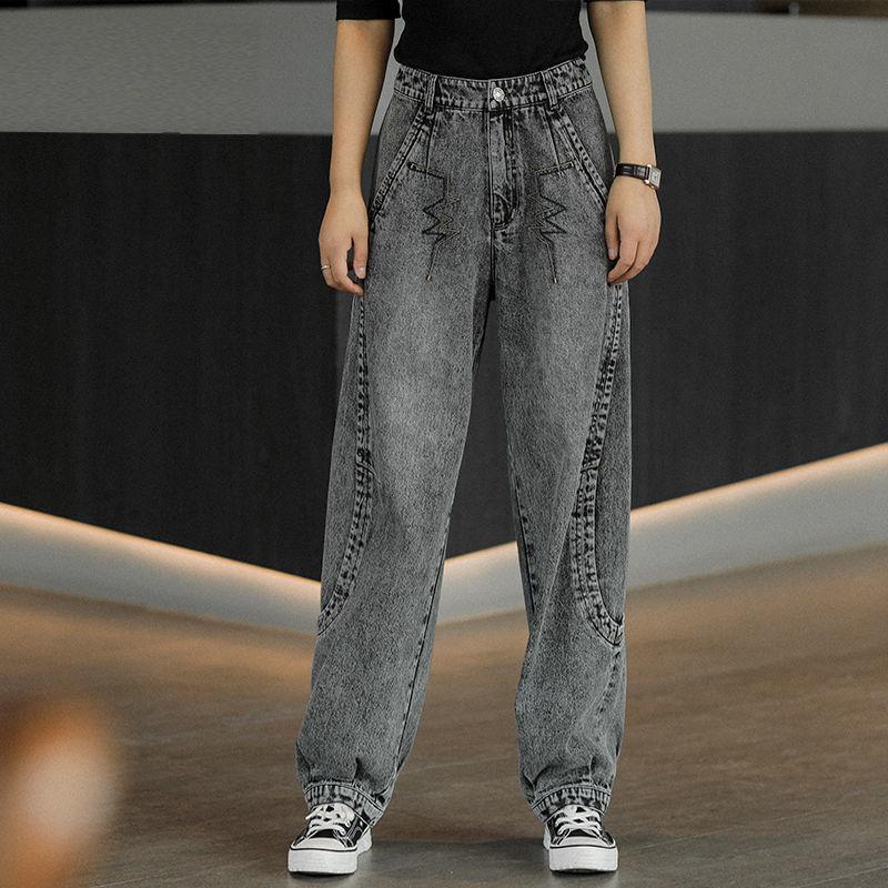 2021 Women Streetwear Pleated Mom Jeans High Waist Loose Slouchy Jeans Pockets Boyfriend Pants Casual Ladies Denim Trousers