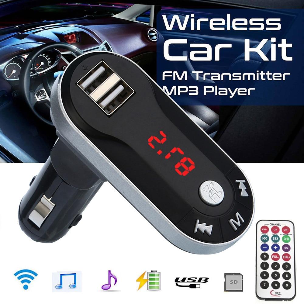1x Kit de manos libres para el automóvil transmisor FM inalámbrico transmisor FM reproductor MP3 Kit manos libres coche USB TF SD carga remota para smartphone