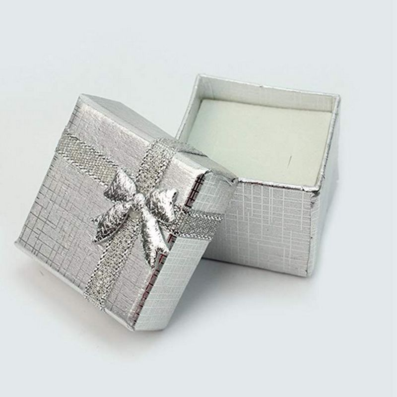 1pc Bow Knot Gift Boxes Silver Square Jewelry Ring Gift Cardboard Box Present Case Holder Valentine's Day Gifts Boxes