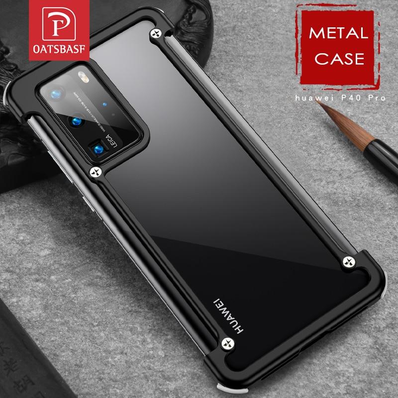 جراب هاتف لهاتف Huawei P40 P40 pro plus ، جراب معدني فاخر على شكل إطار ، مع وسادة هوائية ، جراب أصلي مقاوم للصدمات
