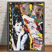 graffiti pop art beautiful hepburn smoking poster portrait canvas painting street art wall picture for living room home decor