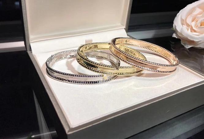 Pulsera de bola de acero para mujer, joyería de plata S925, oro rosa, plata, famosa marca de réplica con logotipo firmado pulsera masculino