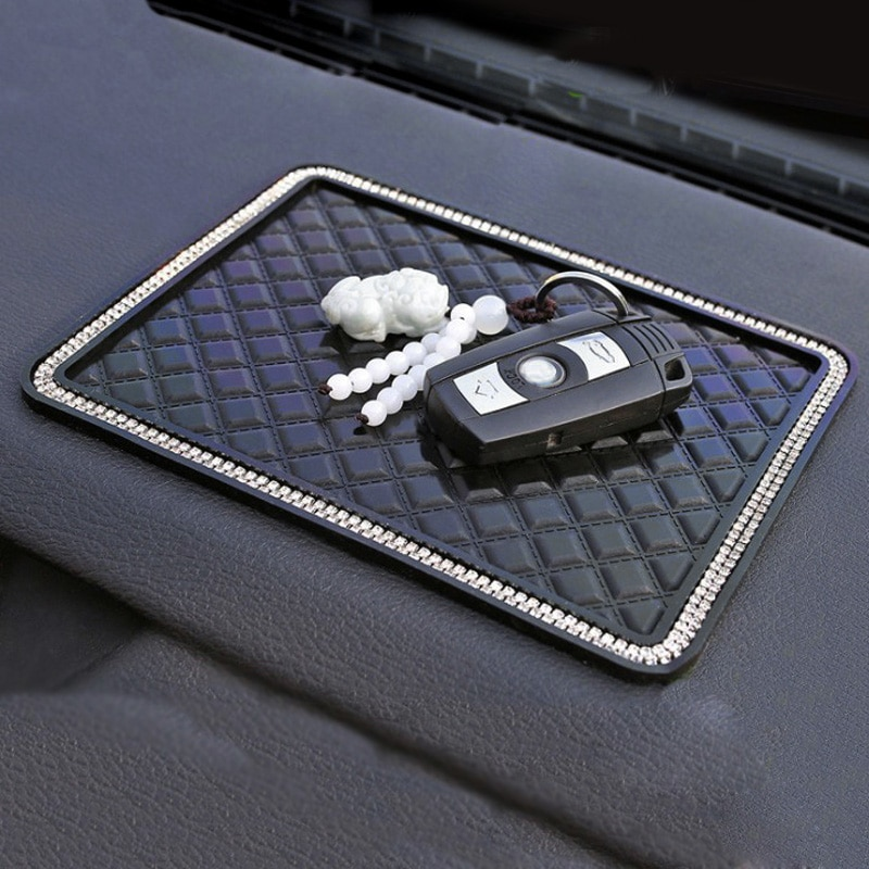 18*14cm Anti Slip Mat Crystal Rhinestone Automobile Silicone Non-Slip Mat Pad Car Sticky for GPS Pho