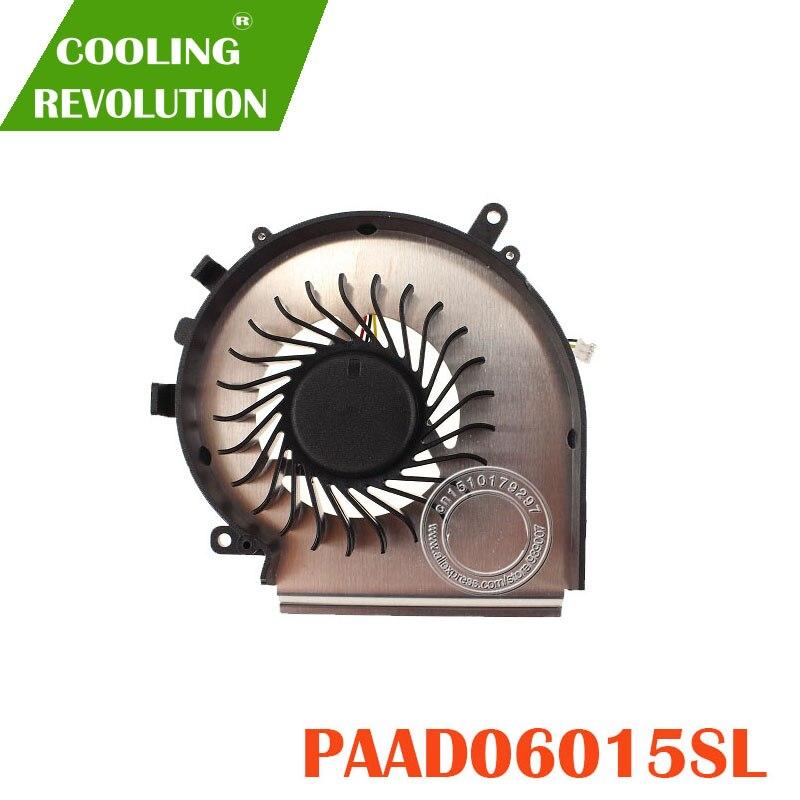 Novo Ventilador de Refrigeração da CPU Para MSI GE72 GE62 PE60 PE70 GL62 GL72 PAAD06015SL 3pin 0.55A 5VDC N303