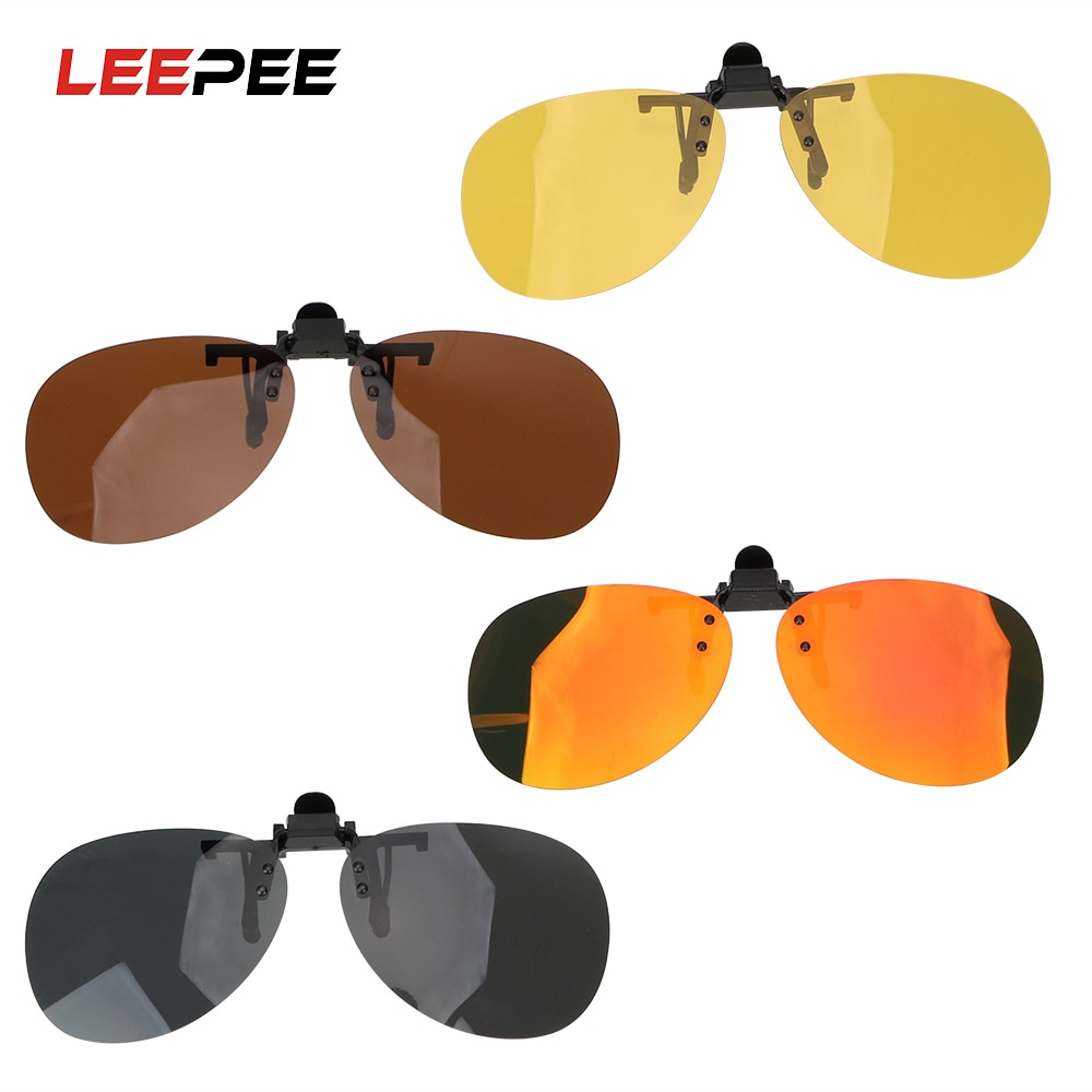 LEEPEE Car Driving Night Vision Lens Clip On Sunglasses Polarized Sun Glasses Driver Goggles For Men