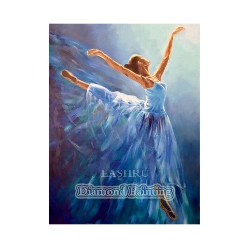 Falda azul EASHRU para bailarina, pintura de diamante 5D, punto de cruz, bordado de diamantes, bordado de punto de cruz, cuentas cuadradas completas para decoración del hogar PT4407