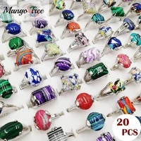 wholesale 20pcslot fashion men and women retro color stripe stone ring wedding party gift silvery jewelry