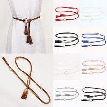 Cinturón de moda para mujer, cinturón de borla trenzada de Color sólido, cinturón bohemio para niña, cinturones de punto de cuerda fina para vestido, accesorios para cintura