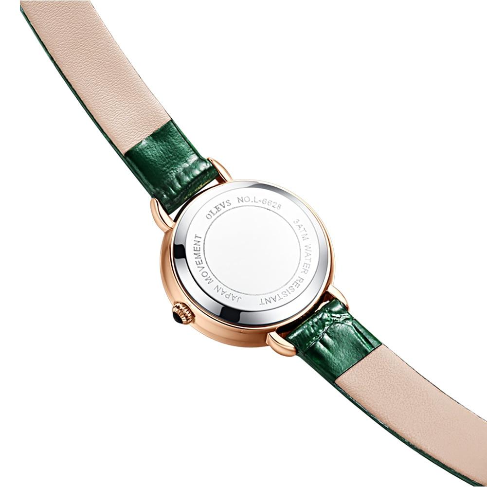 OLEVS Retro Women Fashion Watches Green Malachite Dial Scratch Resistant Mirror Leather Strap Ladies Japanese Quartz Set 6628 enlarge