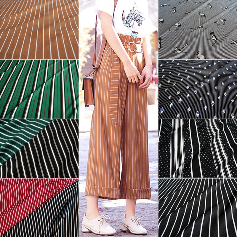half meter fashion black stripe elastic chiffon fabric for dress trousers shirt girl's garment no transparent T885