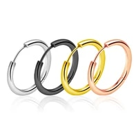 2pcs hoops earring women girl simple ear cartilage tragus piercing jewelry titanium steel round circle clip earring wholesale