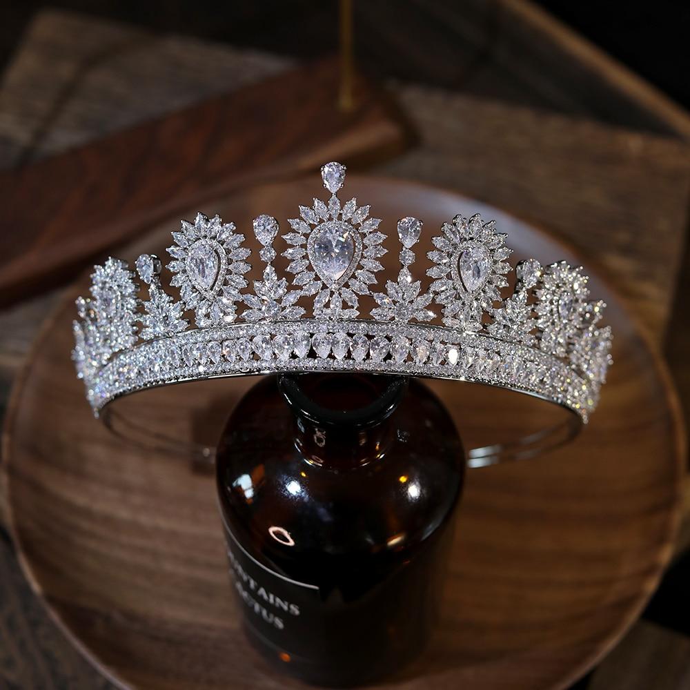 Review European Big Zircon Water Drop Tiaras Bridal Crown Shiny Crystal Headdress Wedding Hair Accessories Prom Jewelry Gifts
