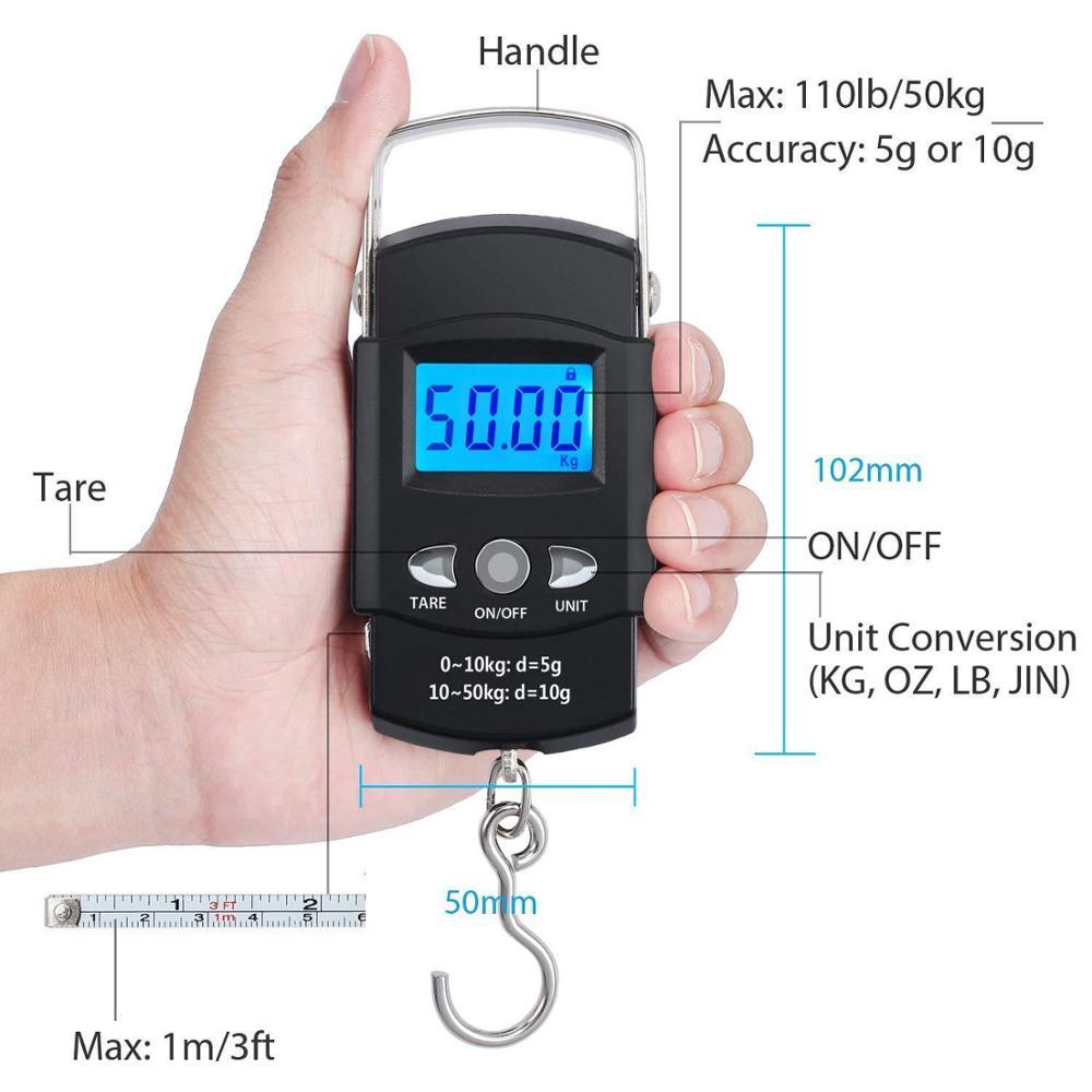 BOBI 50KG/10g Mini Electronic Portable Digital Scale LCD Display Suitcase Travel Handheld Weighing Hanging Scale Fishing Balance enlarge