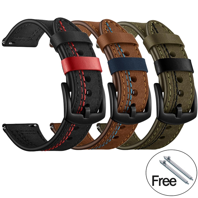 Smartwatch Smartband Replacement Leather Watch Band Strap for Huawei Watch GT/GT2e 22mm 20mm for Samsung Galaxy watch 42/46mm недорого