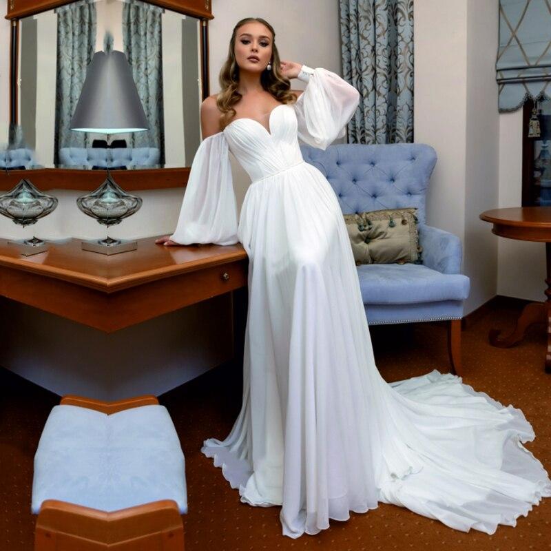 Eightale пляжное свадебное платье Милая свадебное платье с длинными пышными рукавами белое свадебное платье с длинным рукавом, Свадебное платье robes de mariée sirène