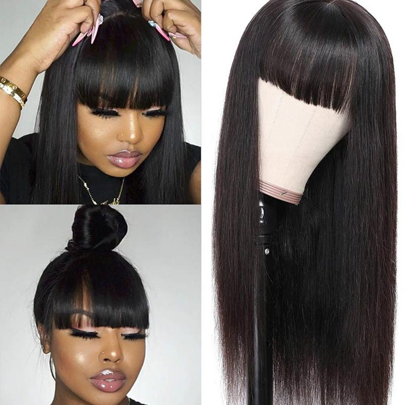 Long Straight Human Hair Wigs With Bangs Natural Color Brazilian Remy Human Hair Full Machine Made Cheap Wigs 8-28Inch EUPHORIA