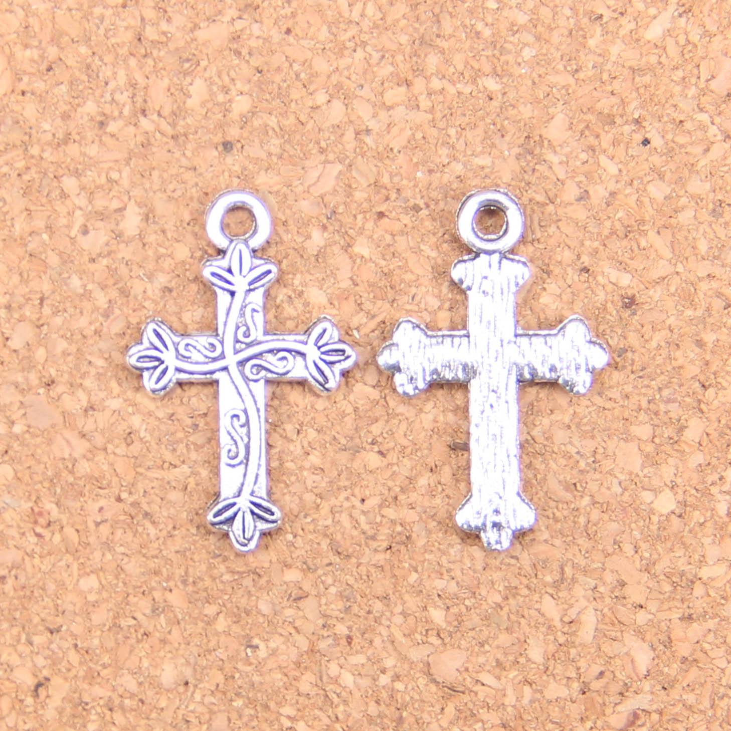 28Pcs Charms Bloem Kruis 16X25Mm Antieke Hangers, Vintage Tibetaans Zilveren Sieraden, diy Voor Armband Ketting
