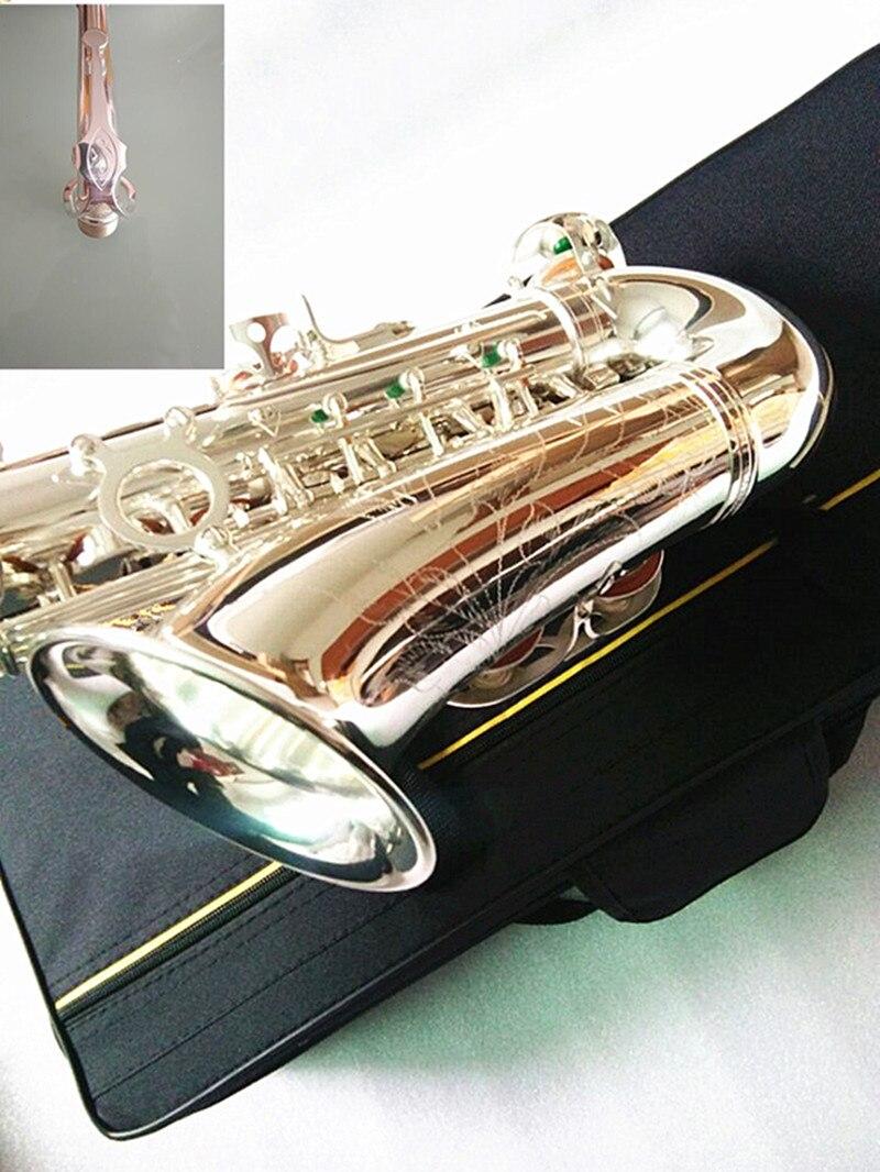 Chapeado e Plana Sax com Case Marca Modelo Alto Tune Saxofone Prata Bucal Juncos Cintas Profissional vi eb