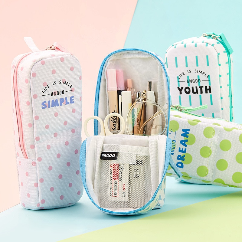Caja de lápices Kawaii de pie con cremallera, caja de lápices bonita, caja de lápices de almacenamiento, soporte de bolígrafo para chicas, estuches escolares, suministros escolares