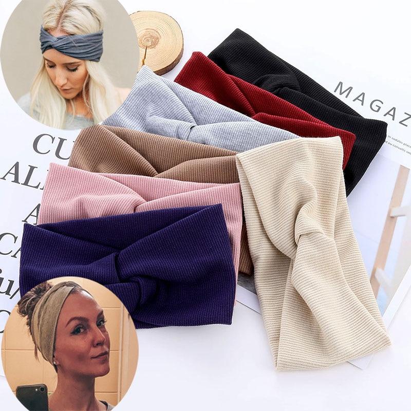 Shirita elastik pambuku të nyjeve, aksesorë flokësh për vajza, rripa flokësh të kryqëzuar, koka e përbërjes, lidhjet e flokëve të modës për gratë