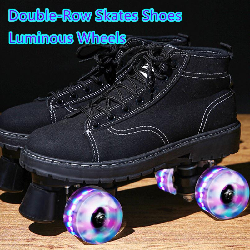 2021 New Black Double-Row Pulley Shoes Adult Men 4 Wheels PU Leather Luminous Roller Skates Skating Shoes Sliding Sneaker Size44