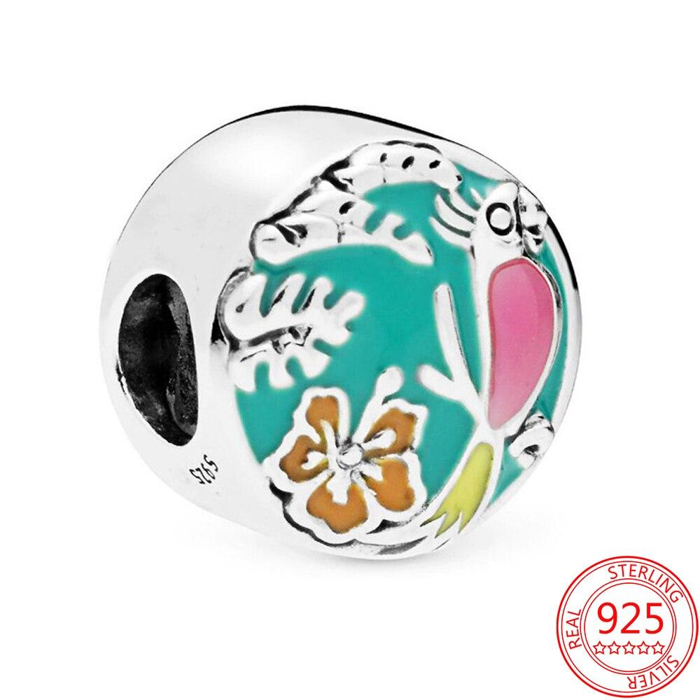 Colgante de esmalte plateado de Ley 925 para pulsera Pandora abalorio de...