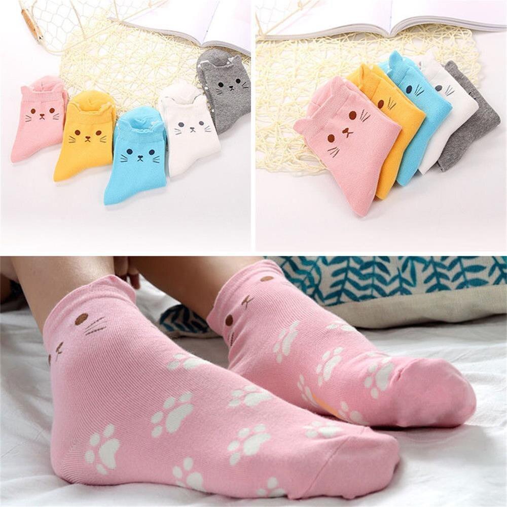Calcetines de tubo de algodón con estampado de medias con huellas de gato bonitos de moda para mujer