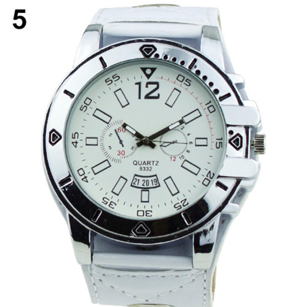 Горячая Распродажа 50%, Красочные мужские модные большие Спортивные кварцевые Стальные наручные часы с кожаным ремешком