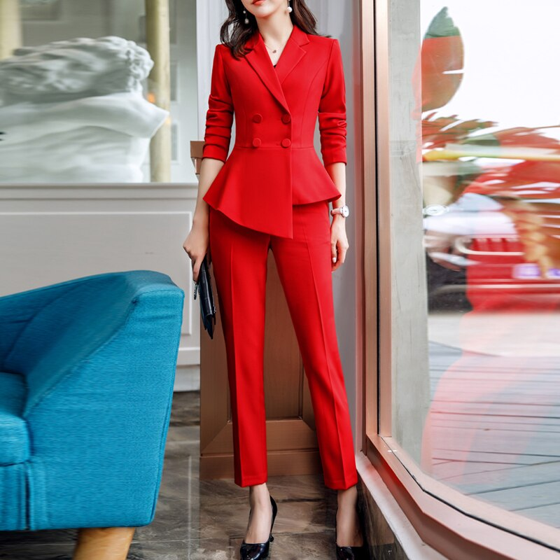 2021 Formal Elegant Women's Business Blazers Trouser Suits Office Sets Ladies Plus Size Formal Jacket Pants Office Lady